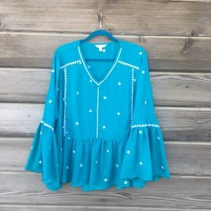 Time and Tru - Turquoise Peasant Blouse